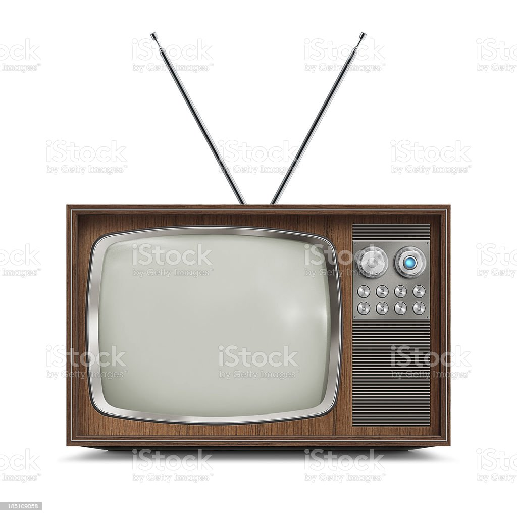 Wooden Television - Blank Screen stock photo