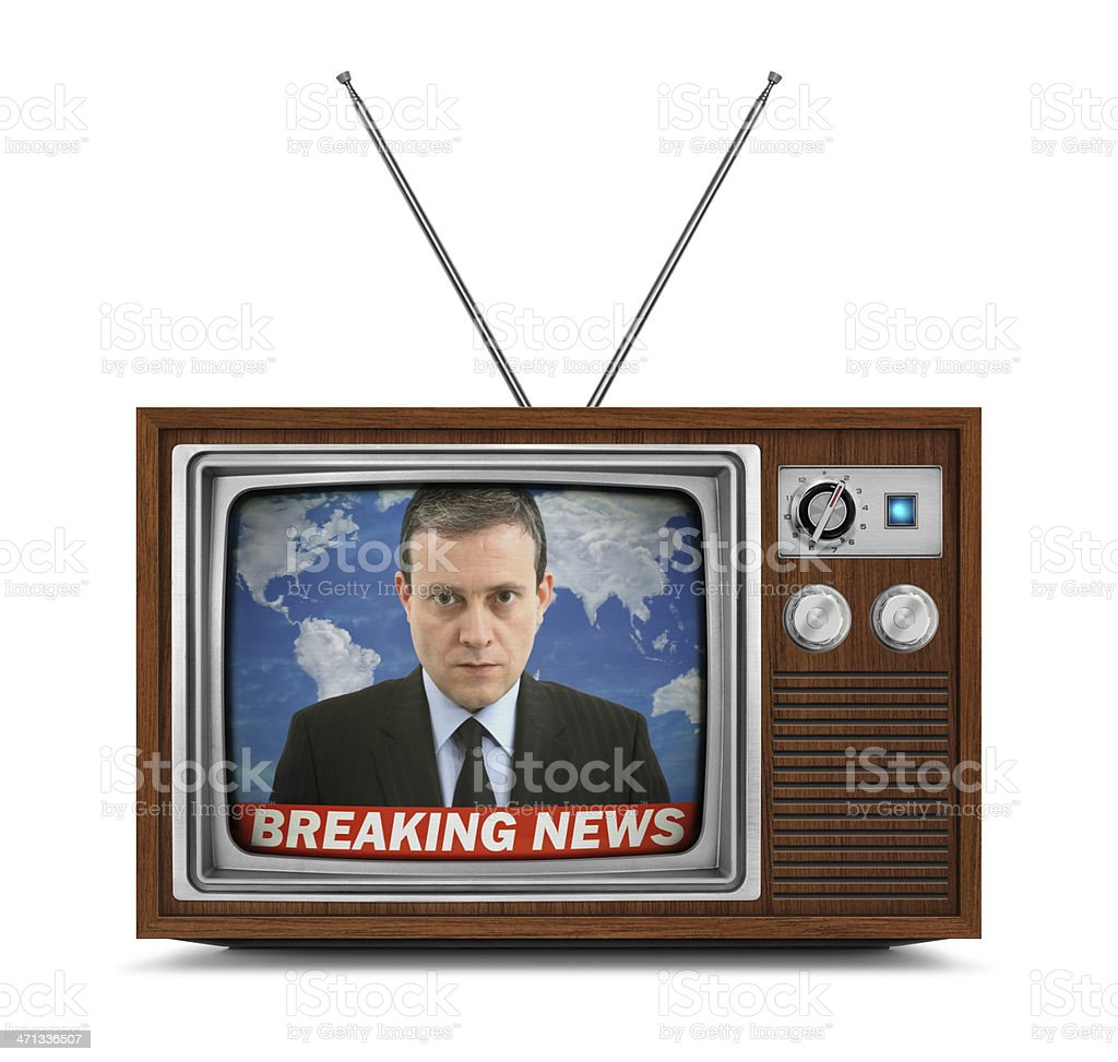 Wooden Television - Breaking News stock photo