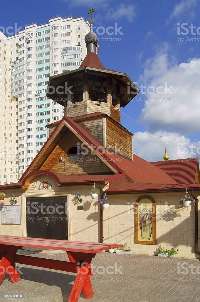Wooden temple in honor of Apostle Fomy royalty-free stock photo