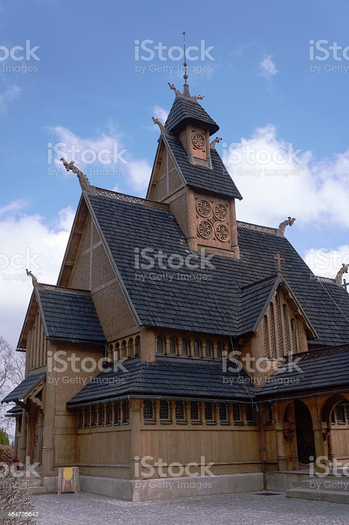 Wooden temple Wang stock photo