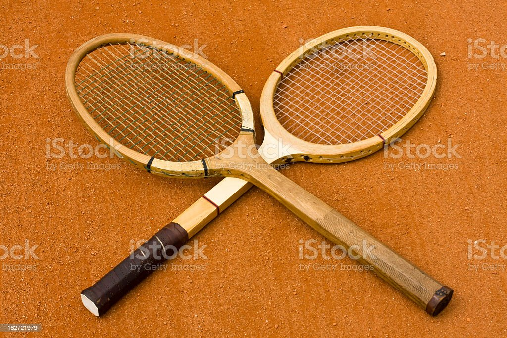 Wooden tennis rackets royalty-free stock photo