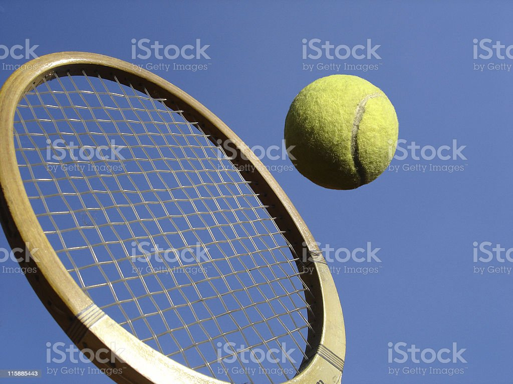 Wooden Tennis Racquet royalty-free stock photo
