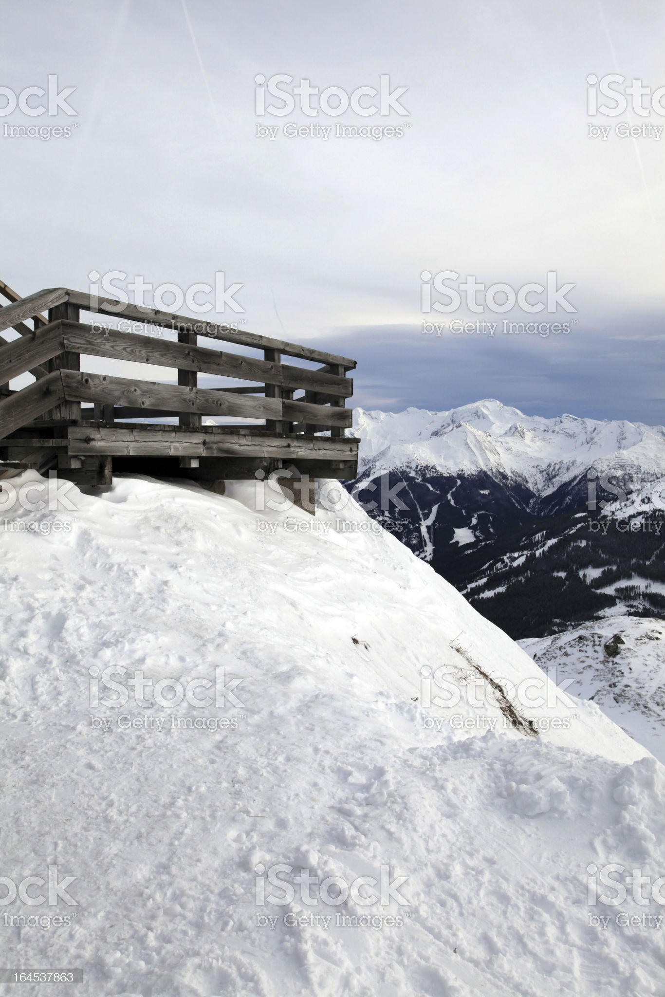 Wooden terrace at mountain ski resort in Alps, Austria royalty-free stock photo