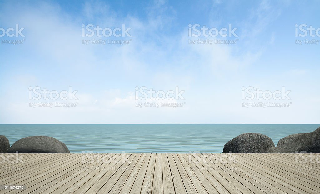 wooden terrace at sea view, 3D rendering image stock photo