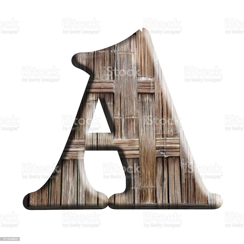 Wooden texture alphabet on a white background stock photo