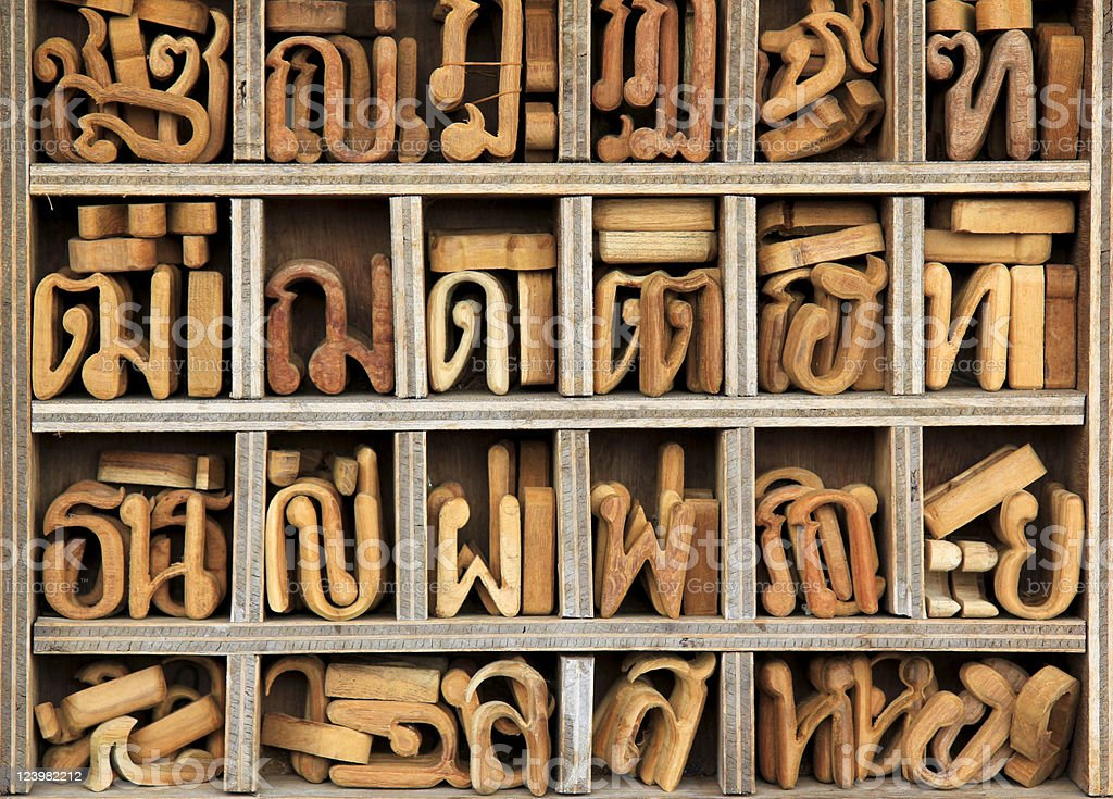 wooden thai language characters background royalty-free stock photo