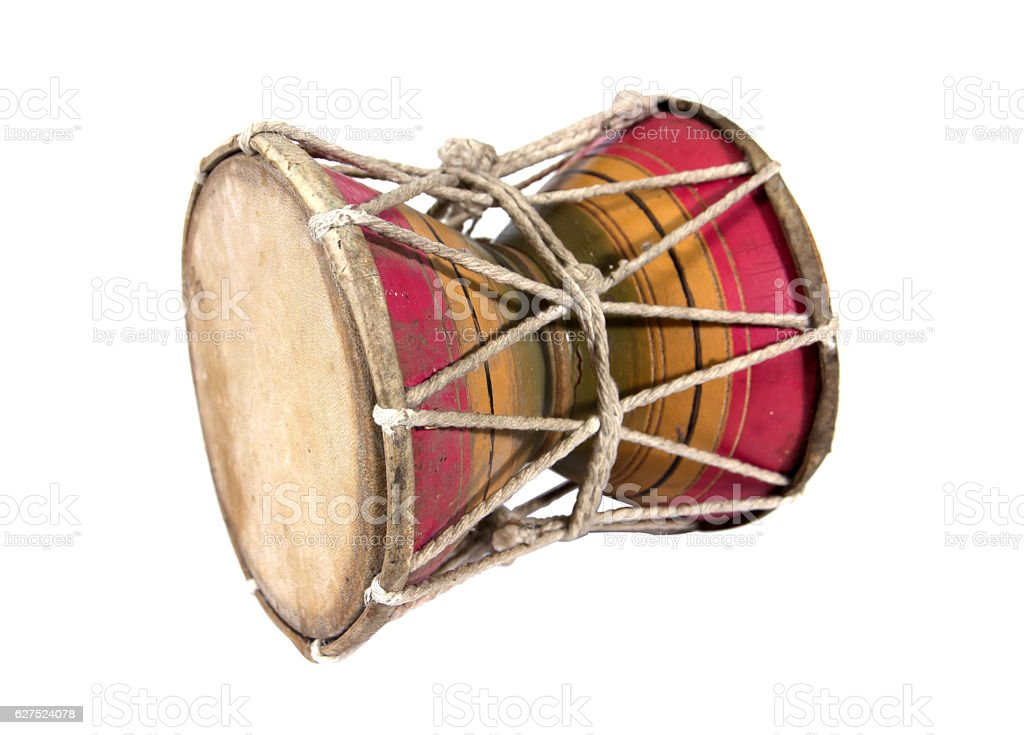 Wooden Thailand style small drum isolated on white background. stock photo