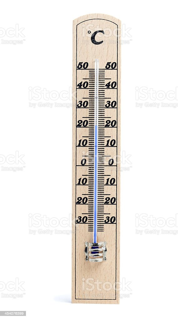 Wooden thermometer with Celsius degree scale royalty-free stock photo