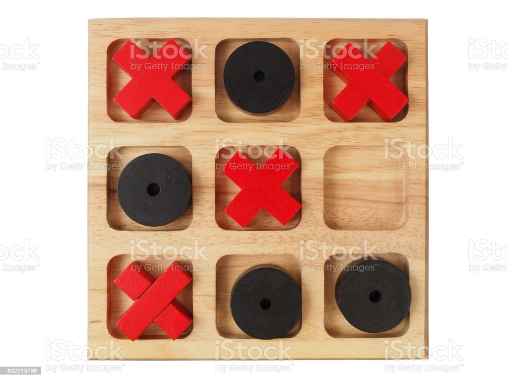Wooden tic-tac-toe on white stock photo