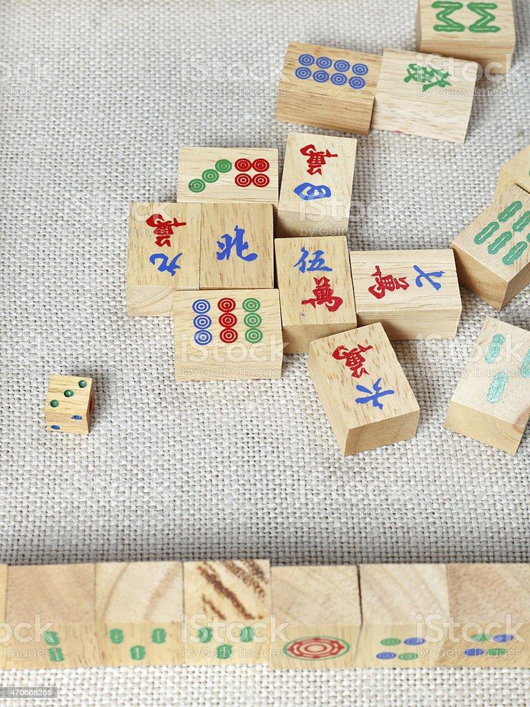 wooden tiles of mahjong desk game stock photo