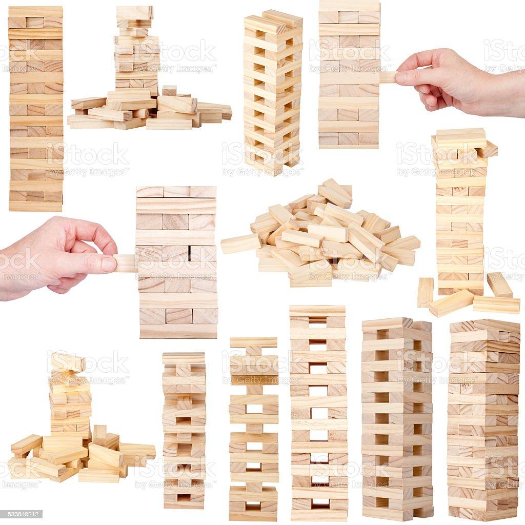 Wooden tower blocks game stock photo