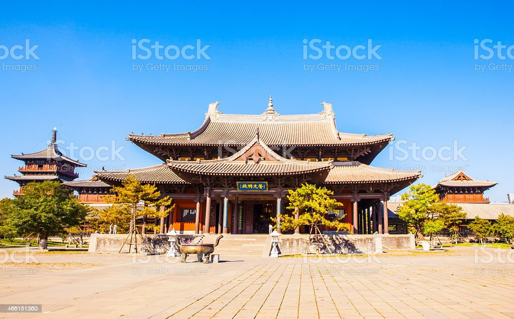 Wooden tower of Datong`s Huayan temple stock photo
