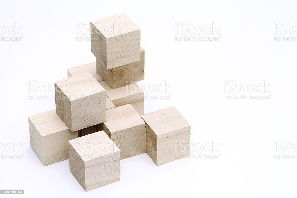 wooden toy blocks on white background stock photo