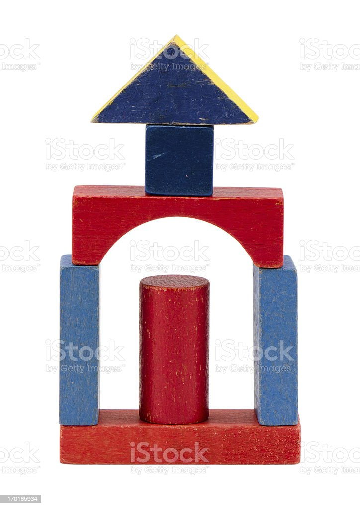 wooden toy building blocks logs isolated on white royalty-free stock photo