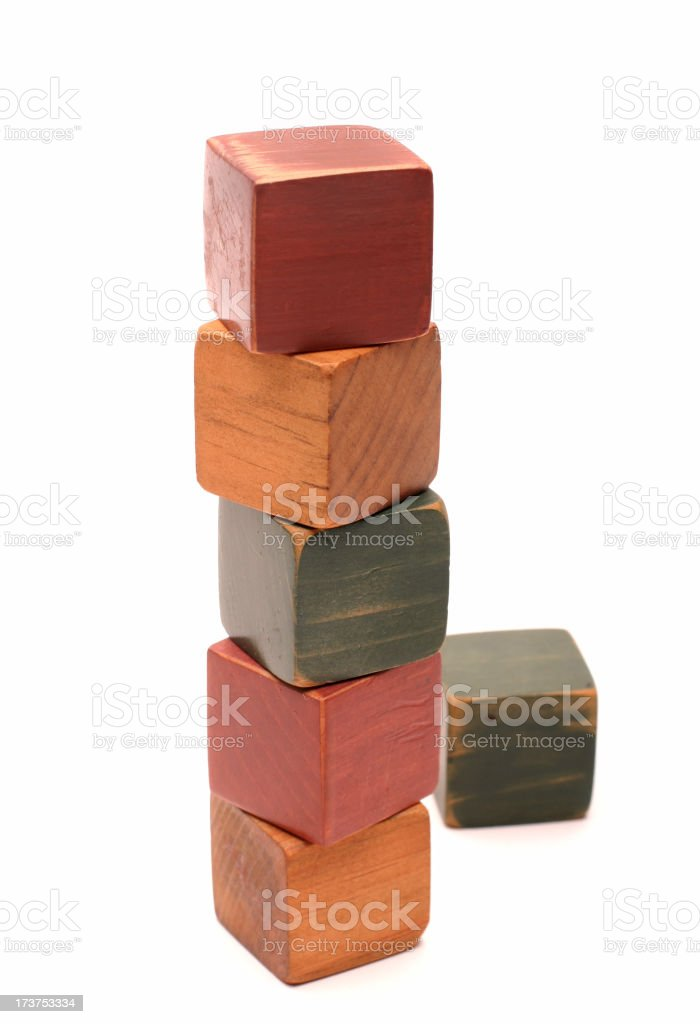 Wooden Toy Building Blocks royalty-free stock photo