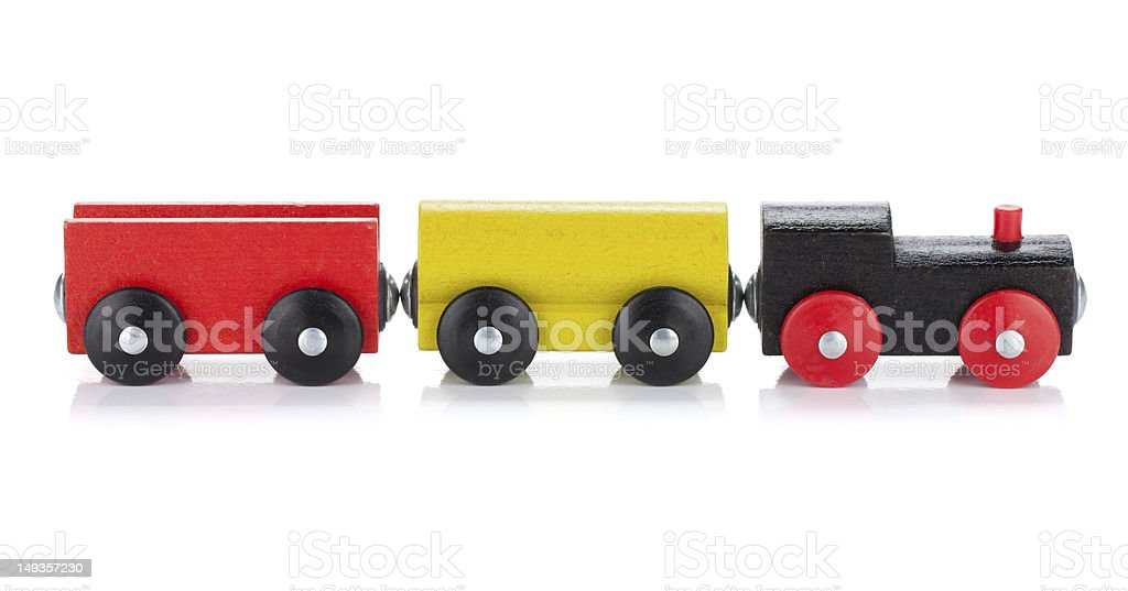 Wooden toy colored train stock photo