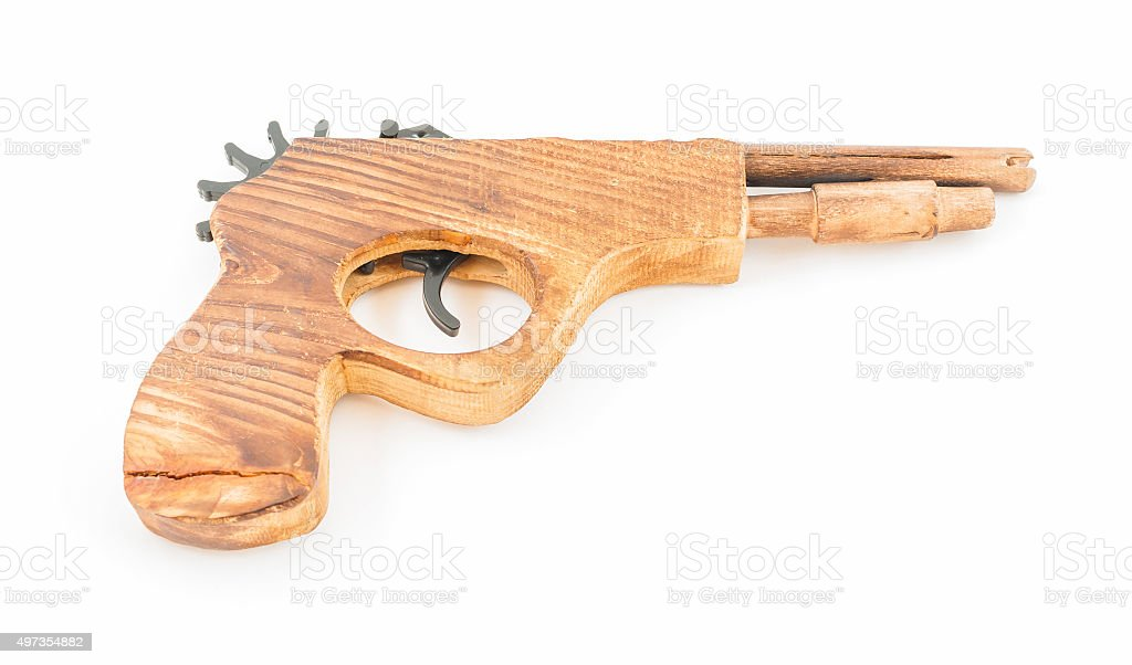Wooden toy gun for child stock photo