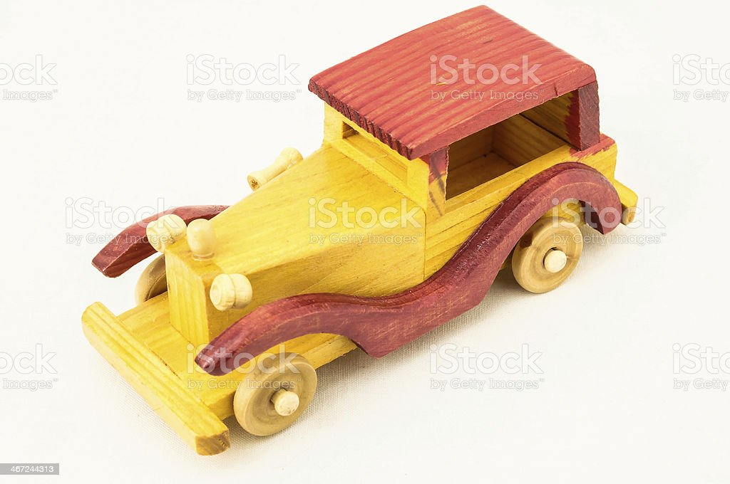 Wooden Toy Red and Yellow Car royalty-free stock photo