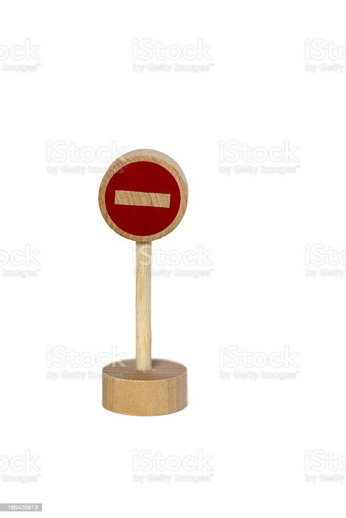 wooden toy road sign stop royalty-free stock photo