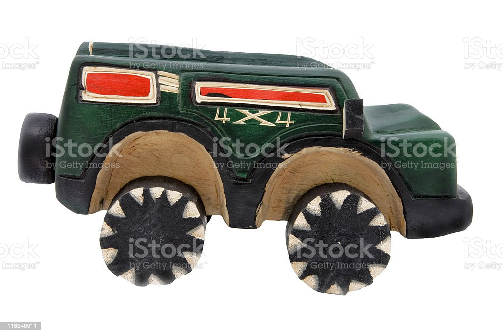 Wooden toy SUV royalty-free stock photo