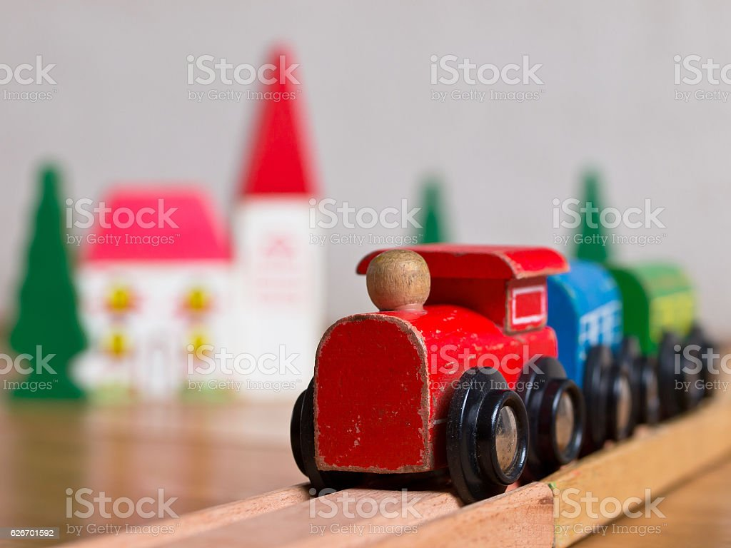 Wooden toy train scene stock photo