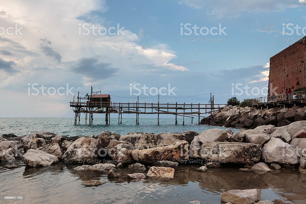 Wooden Trabucco, Termoli, Molise, Italy stock photo