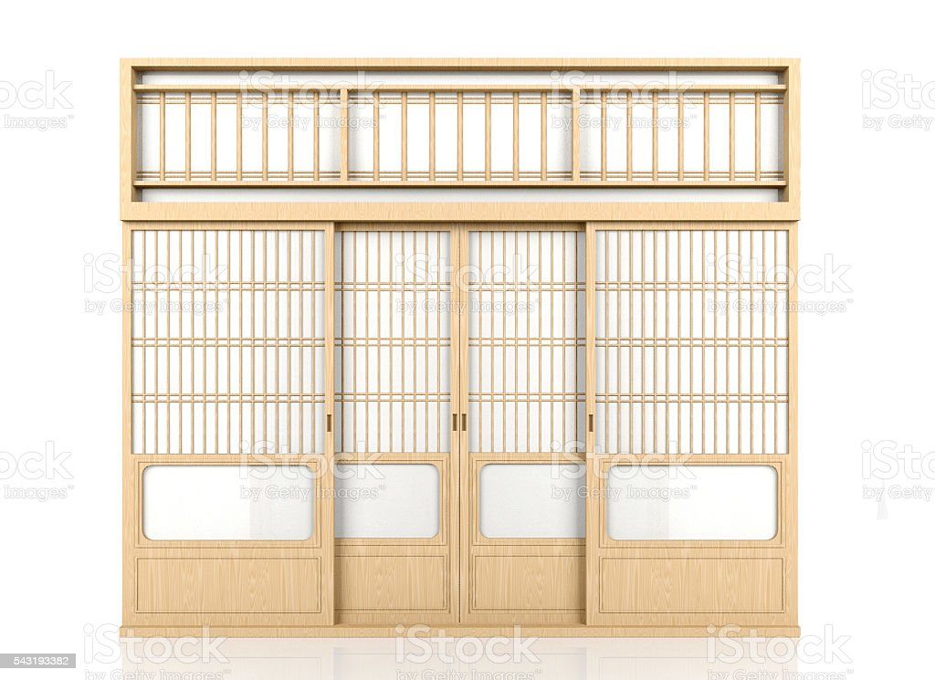 Wooden traditional Japanese Shoji door isolated on white background stock photo