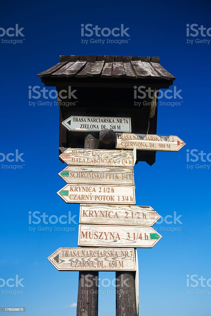 Wooden Trail Sign in Polish mountains royalty-free stock photo
