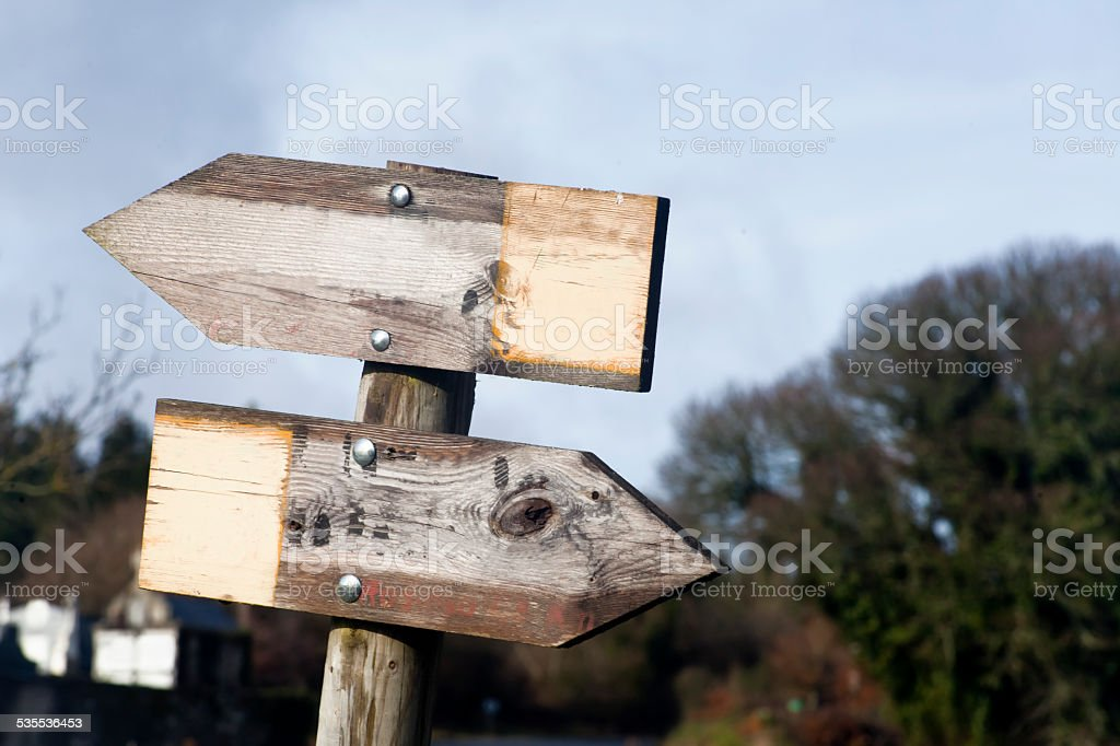 Wooden trail sign post. stock photo