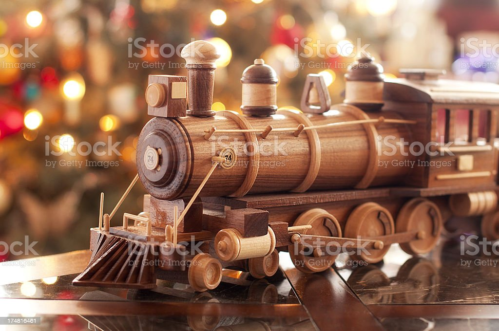 Wooden Train and Christmas lights royalty-free stock photo