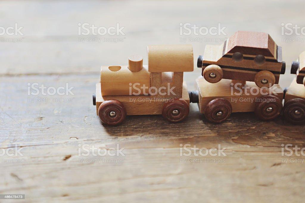 wooden train set stock photo