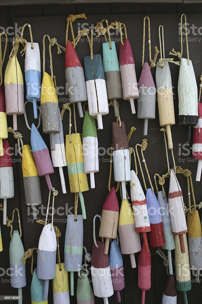wooden trap markers stock photo