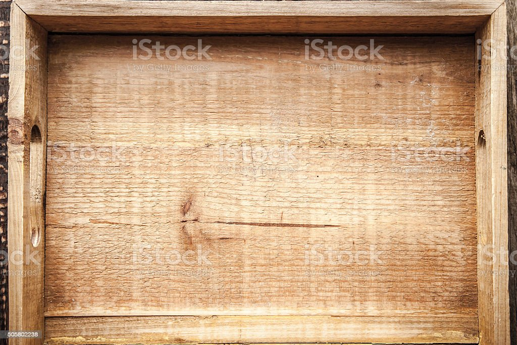 Wooden tray top view stock photo