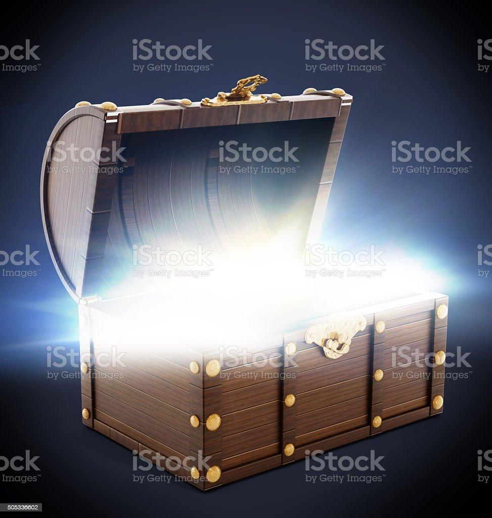 Wooden treasure chest stock photo
