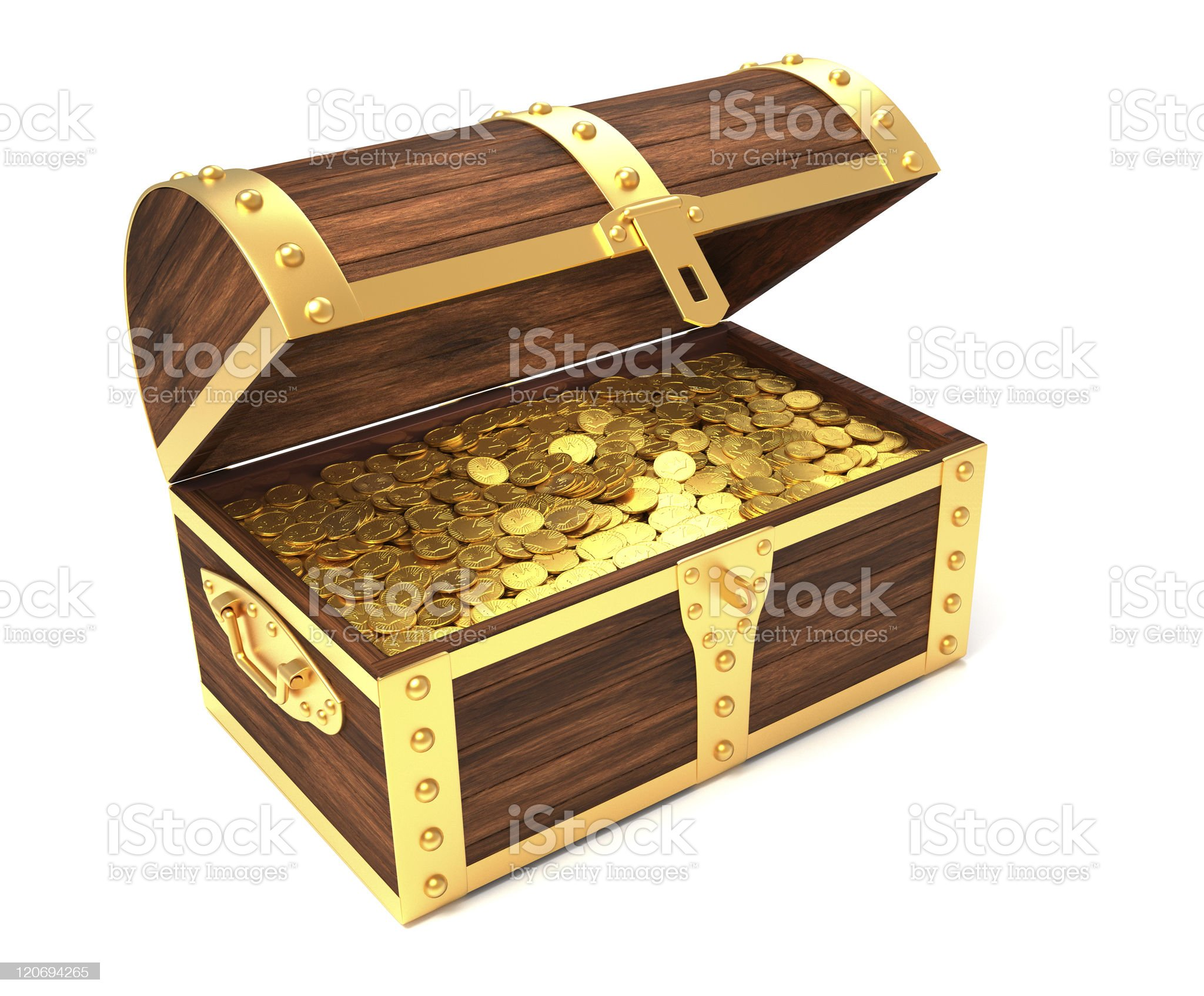 Wooden treasure chest with gold coins royalty-free stock photo
