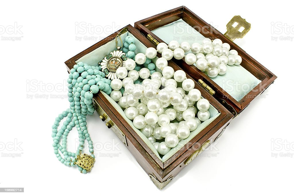 Wooden treasure chest with jewelry royalty-free stock photo
