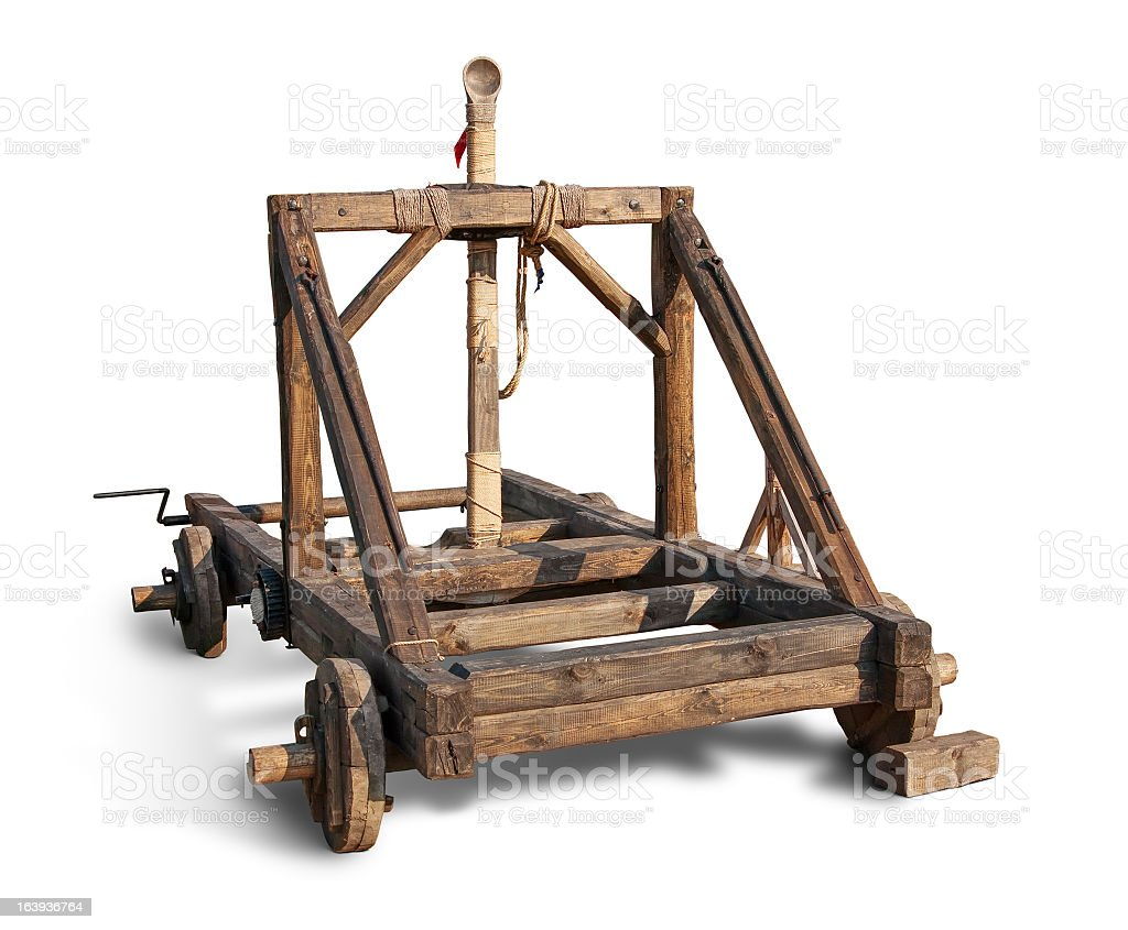 Wooden trebuchet catapult stock photo