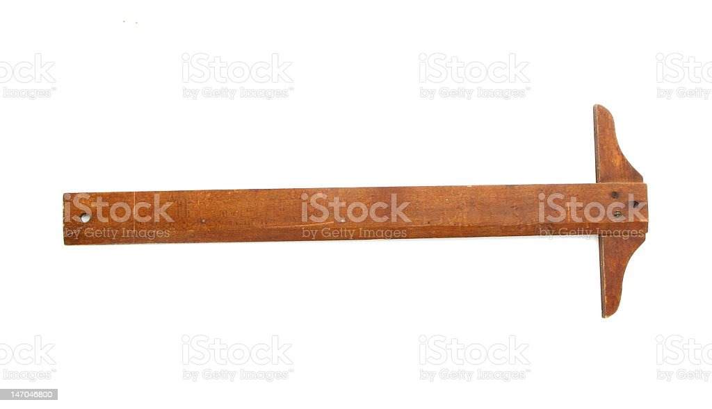 Wooden t-square instrument on white background royalty-free stock photo