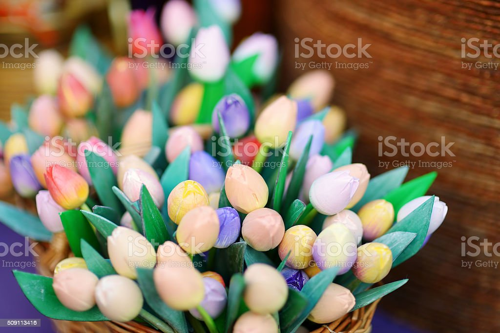 Wooden tulips and decorations sold on Easter market in Vilnius stock photo