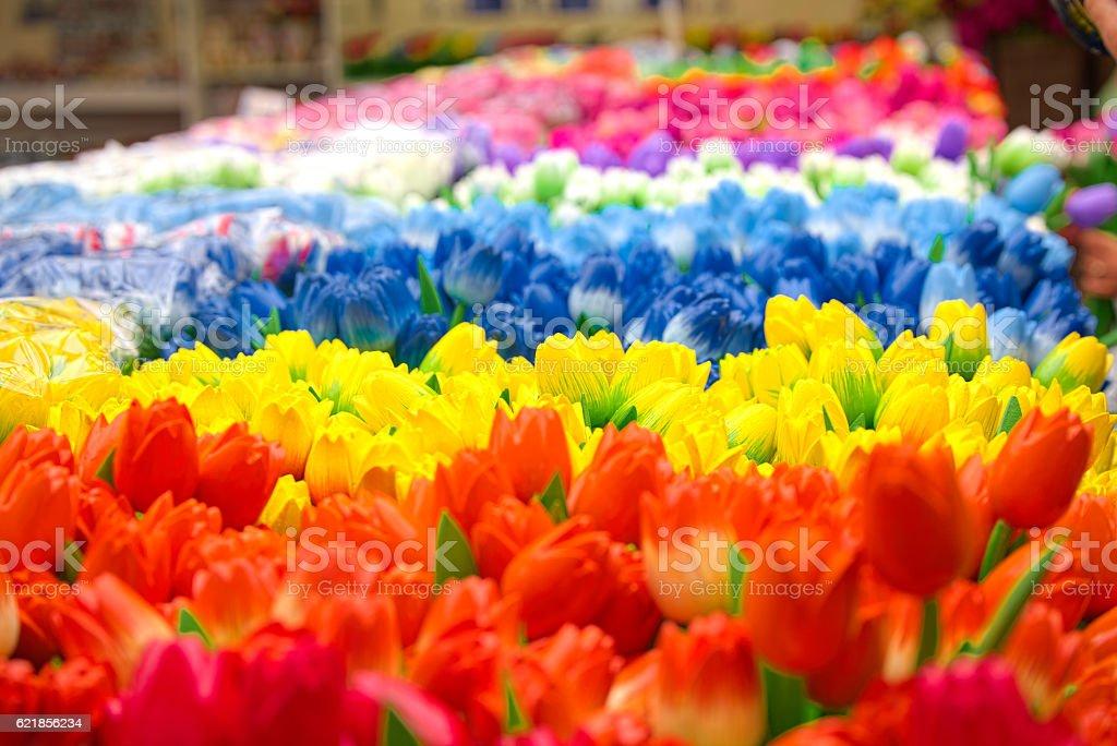 Wooden tulips in Bloemenmarkt (Amsterdam) stock photo