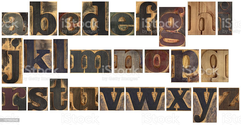 Wooden typeset alphabet stock photo