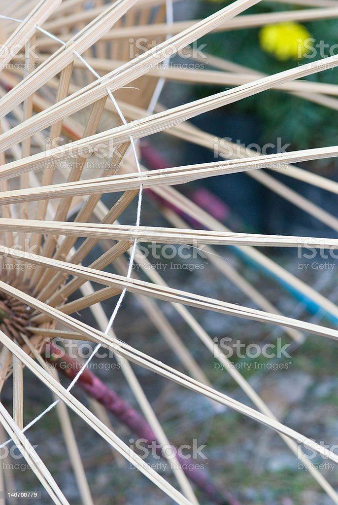 Wooden umbrella frames stock photo