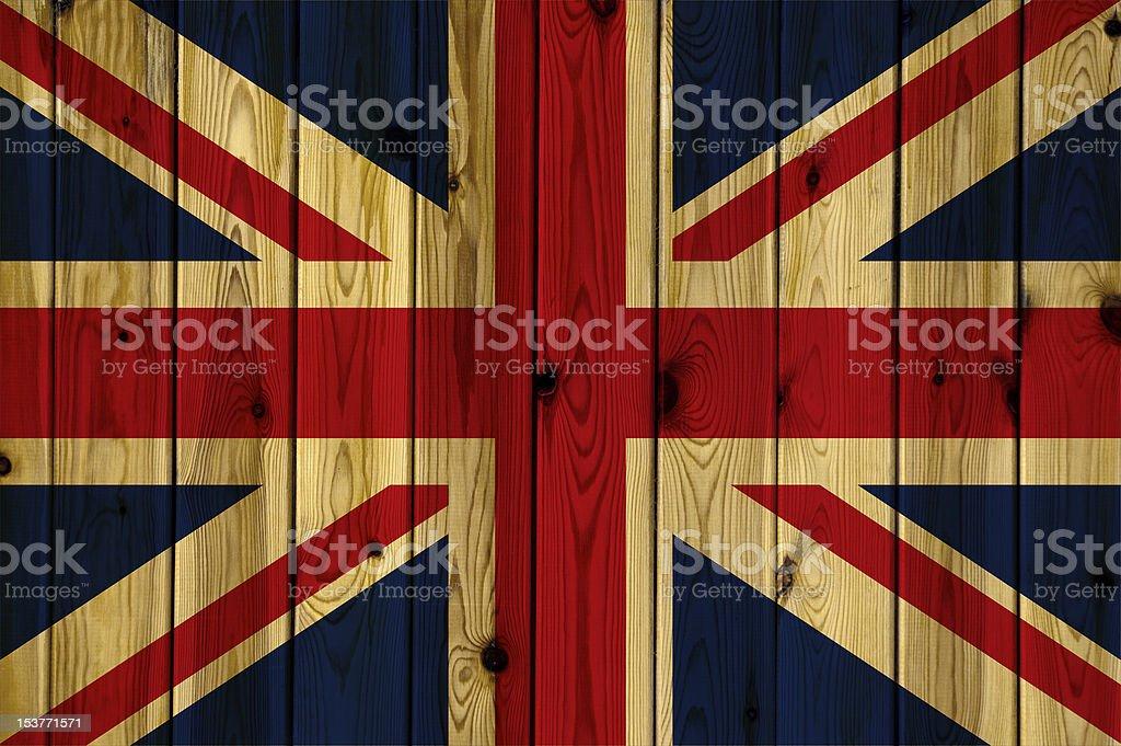 Wooden United Kingdom flag royalty-free stock photo