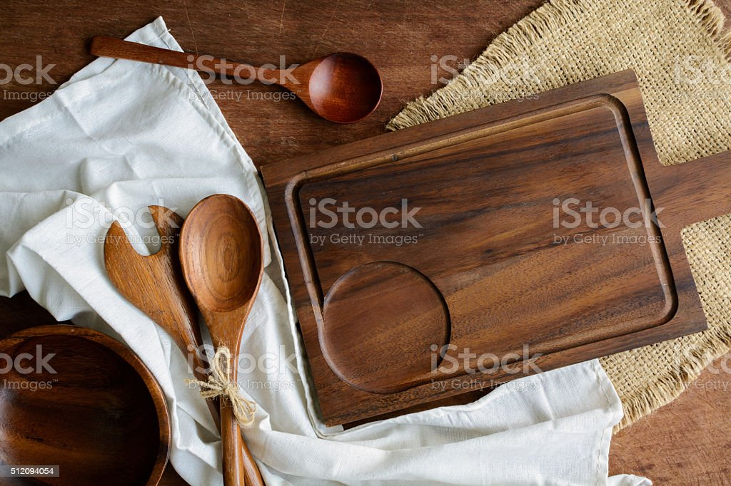 wooden utensil in kitchen on old wooden background stock photo