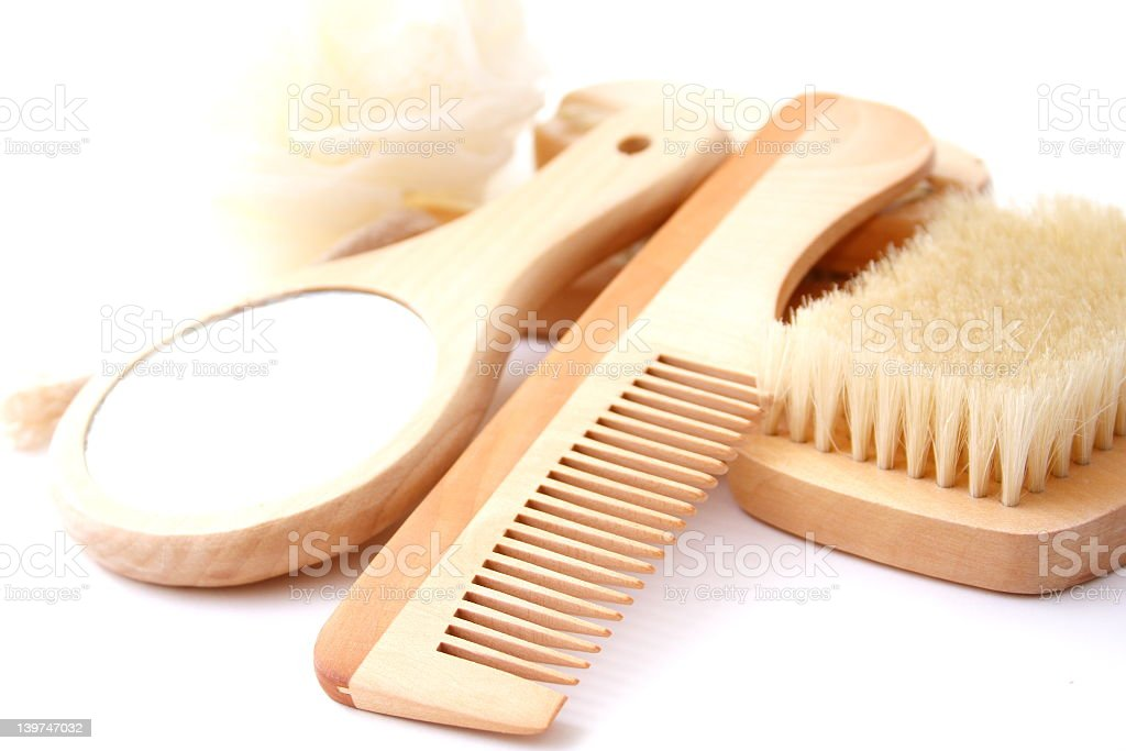 Wooden vanity set with comb, brush and mirror royalty-free stock photo