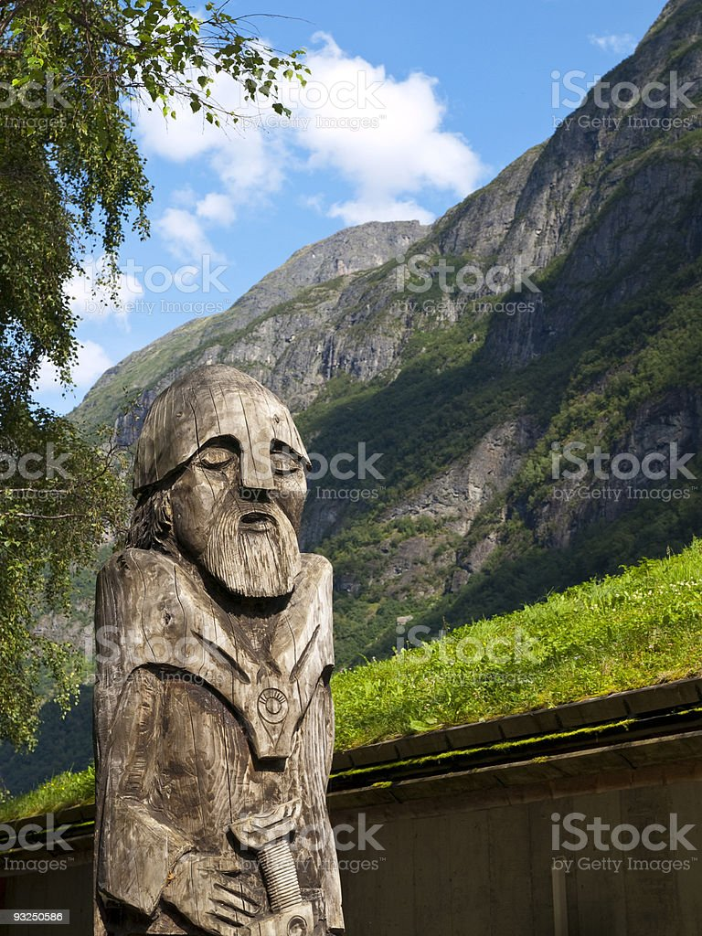 Wooden Viking Statue stock photo