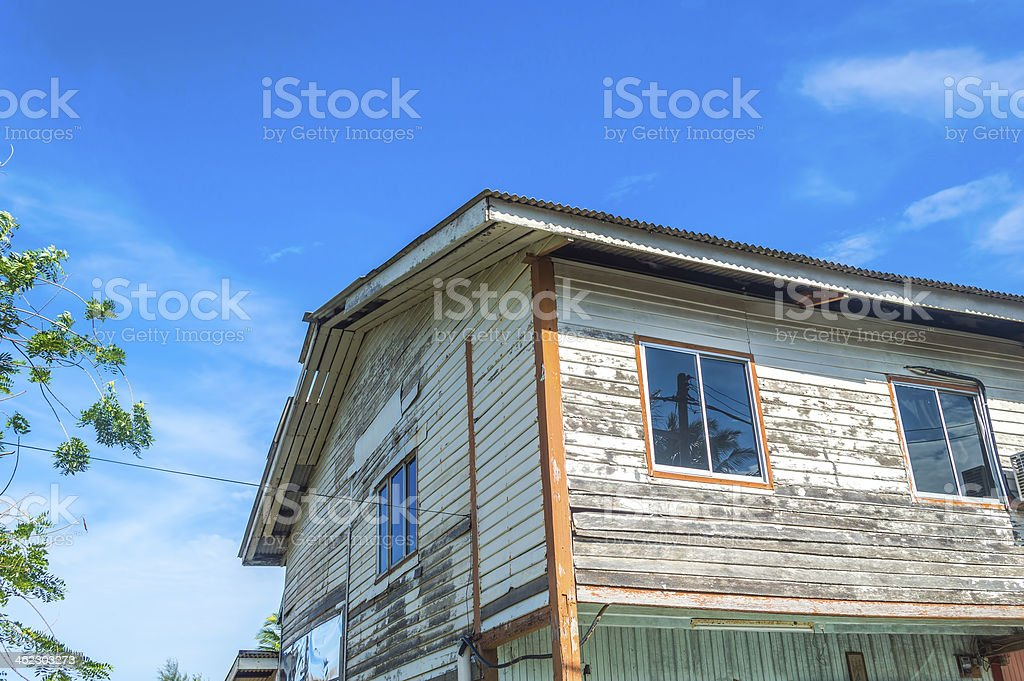 Wooden village house stock photo
