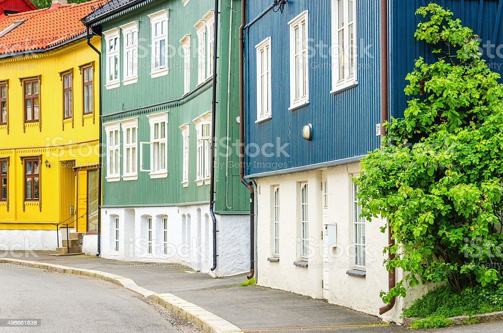 Wooden village in the City,of Oslo, Scandinavia stock photo