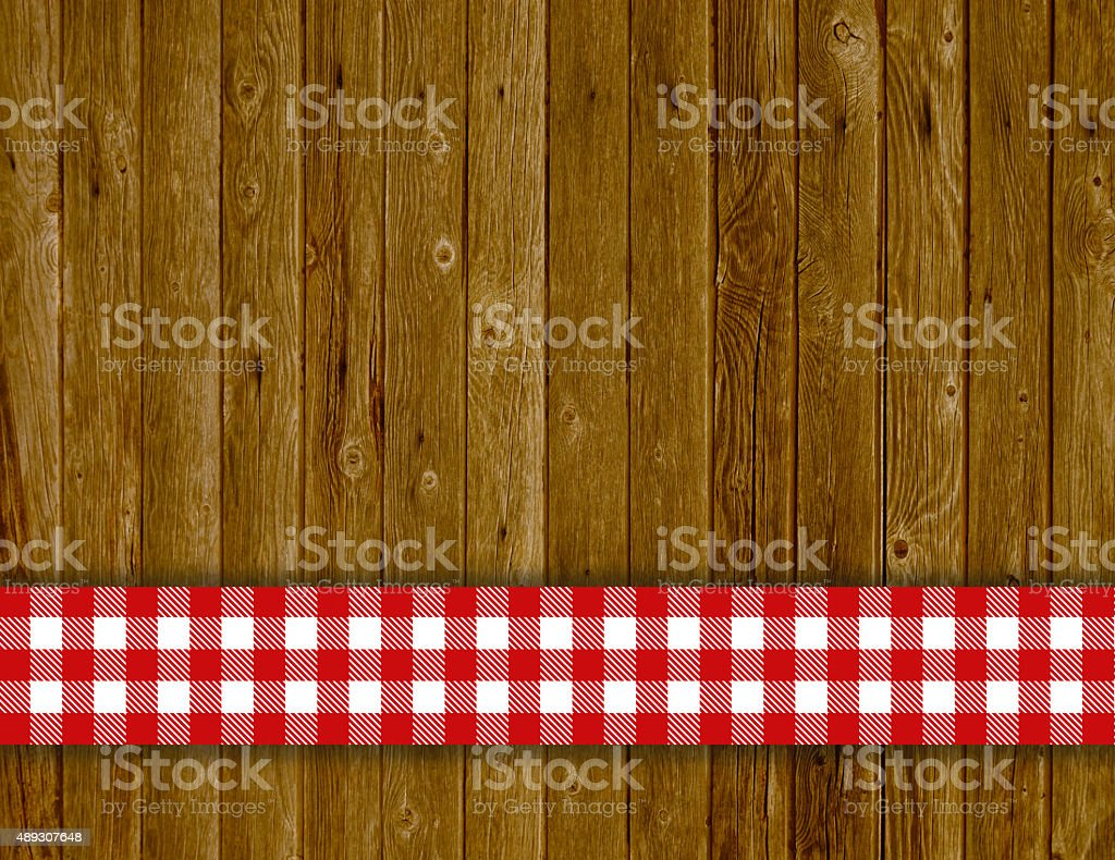 Wooden vintage background with tablecloth red white stock photo
