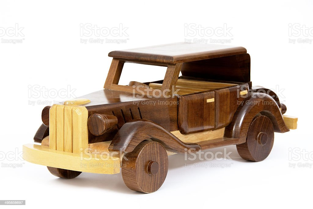 Wooden Vintage Car Isolated on White royalty-free stock photo
